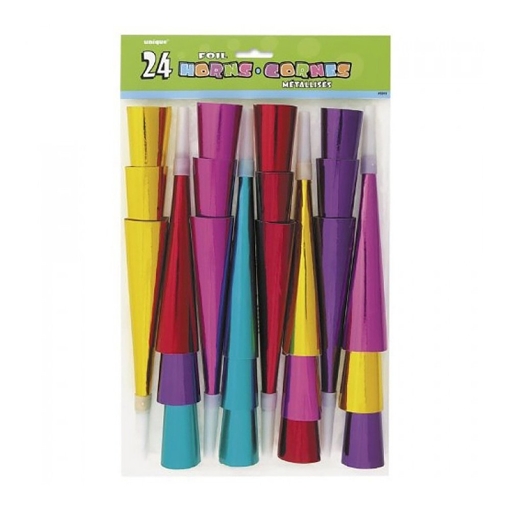 Foil Party Horns, Assorted 24ct