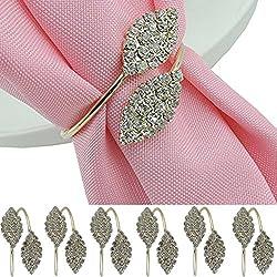 iDili Napkin Rings Set of 6 Pcs Rhinestone Napkin Ring Holders Pack of 6 Handmade Serviette Buckles for Wedding and Dinner Party
