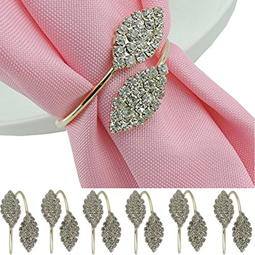 iDili Napkin Rings Set of 6 Pcs Rhinestone Napkin Ring Holders Pack of 6 Handmade Serviette Buckles for Wedding and Dinner Party (Rings For Napkins)