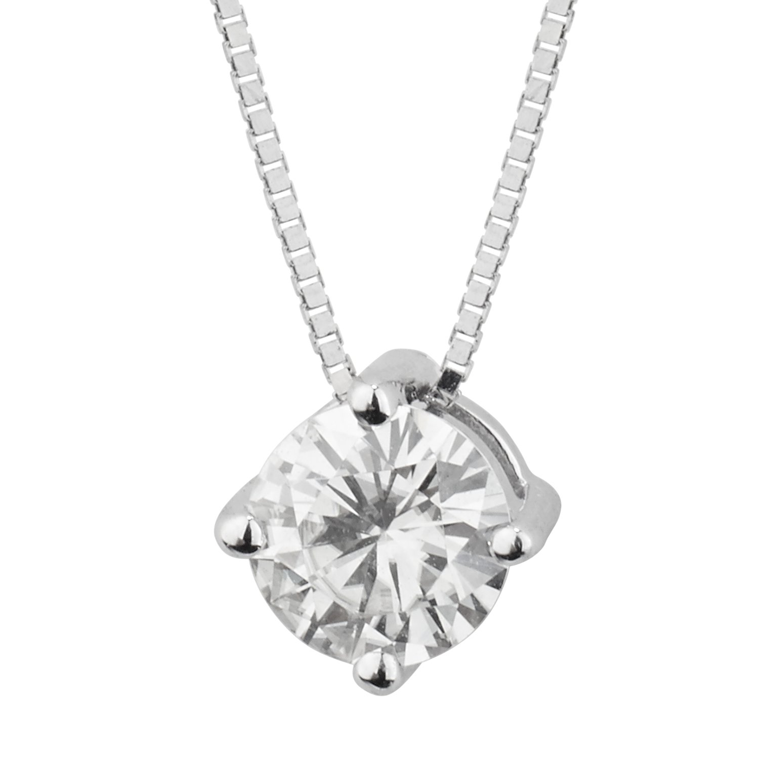 Forever Brilliant White Gold Round 5.0mm Moissanite Pendant Necklace, 0.50ct DEW By Charles & Colvard