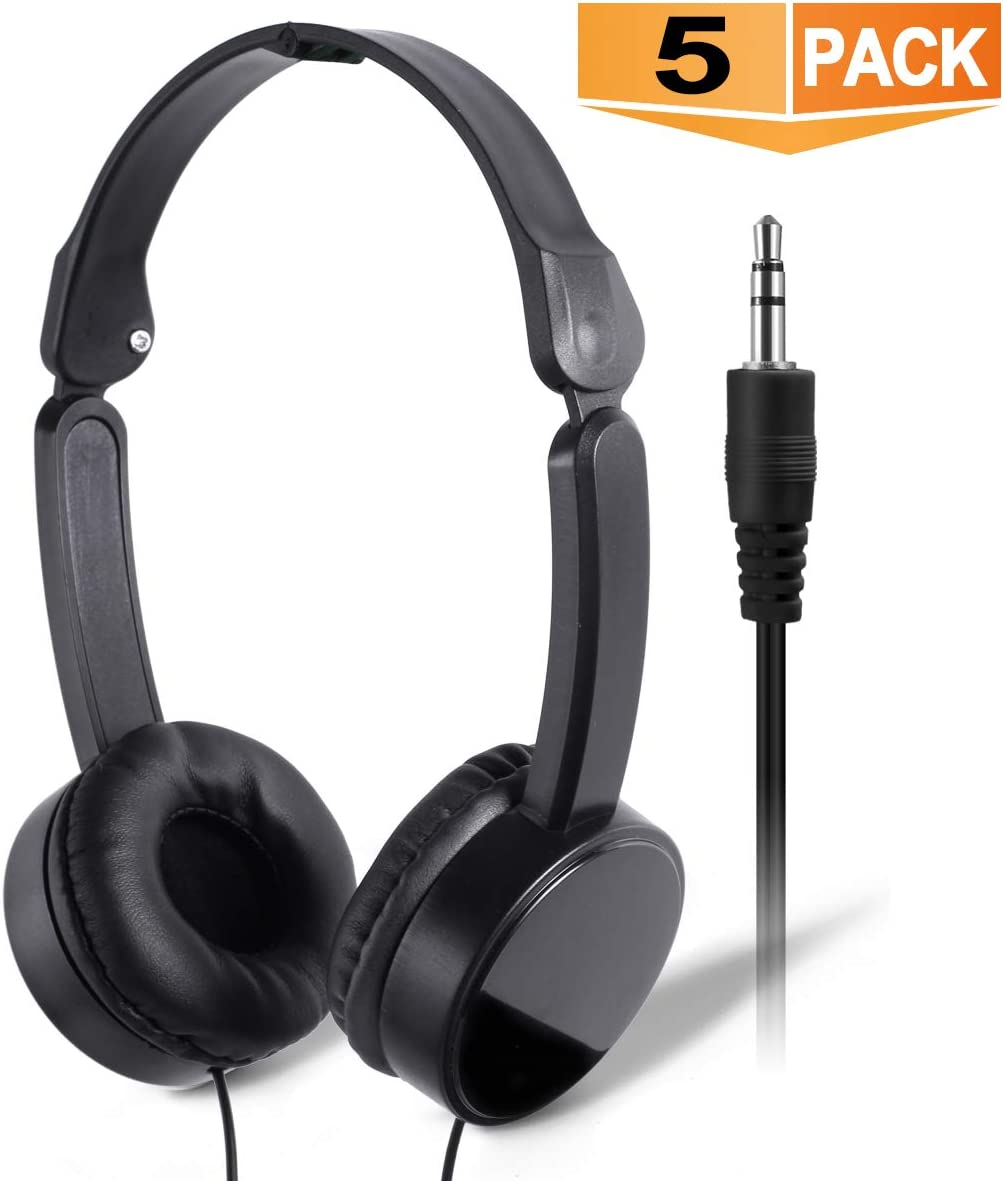 Wholesale Bulk Headphones for Kids Classroom – SP Soundpretty 5 Pack Headphones in Bulk SP-T05 Back to School Black Adjustable Foldable Headsets for Students School Children
