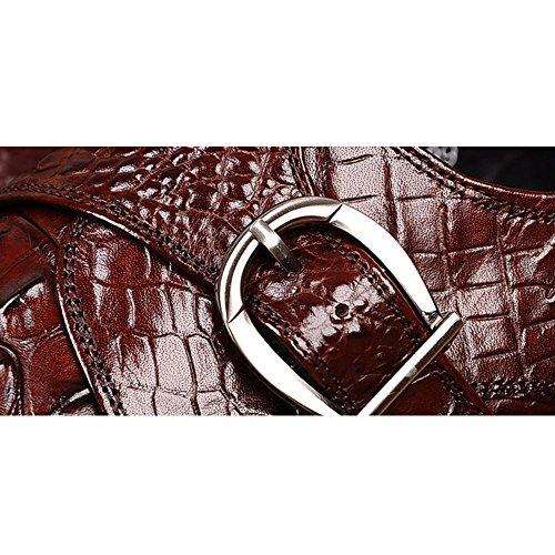 Fulinken Premium Alligator Läder Mens Snör Åt Upp Oxford Finskor Bourgogne-spänne