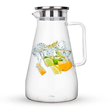 Purefold 68 Ounces Glass Pitcher with Lid, Hot/Cold Water Carafe with Handle, Home Kitchen Juice and Iced Tea Beverage Pitcher