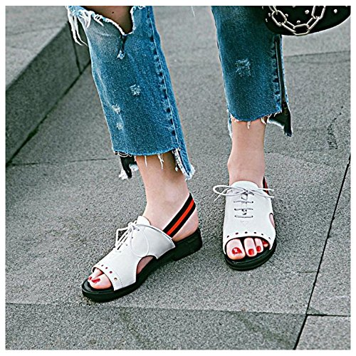 Up Women's 49 Shoes TAOFFEN Lace White Sandals E6HqM1wO