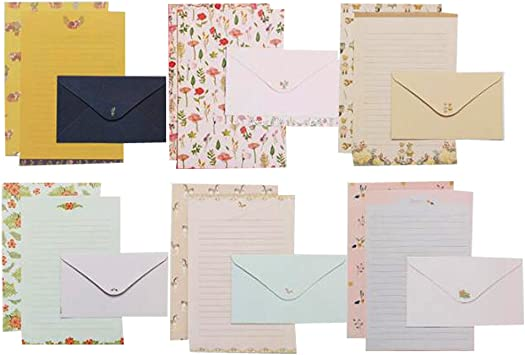 kunmingdahang Writing Paper Set Writing Pad with Envelope Sweet Love Letter Confession Envelope Includes Ruled 4 Sheets and 2 Envelopes for Girls//Boys Festival Gift Blue