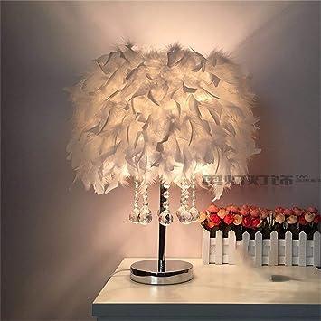 Feder Lampe Nachttischlampe Schlafzimmer Tisch Beleuchtung Kristall Tischlampe
