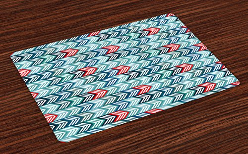 lace Mats Set of 4, Geometric Arrows in Symmetric Horizontal Lines Funky Modern Design, Washable Fabric Placemats for Dining Table, Standard Size, Turquoise Teal ()