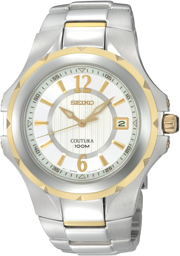 Seiko Men s SGEE68 Coutura Two-Tone Silver And White Dial Watch