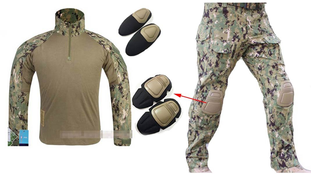 WorldShopping4U Herren Army Military Softair Paintball Krieg Spiel Shooting Gen3 G3 Tactical BDU Combat Uniform Hemd & Hose Anzug Mit Ellenbogenschützer & Knie Pads Digital Woodland Aor2