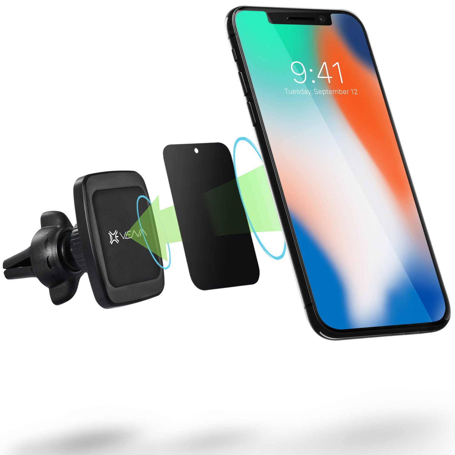 Car Phone Mount, Vena [6Netic] Magnetic Cellphone Car Mount, Universal Air Vent Holder for iPhone XR/XS/XS MAX/X/8 Plus/8, Galaxy Note 9/8/S8 Plus/S8/S9 S9 Plus, Google Pixel 3/3 XL/2/2 XL, LG V30/G6, HTC, Motorola G6/G6 Play/G6 Plus- Black VN0017