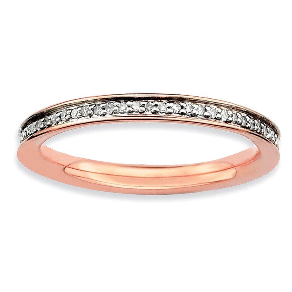 Sterling Silver Stackable Expressions & Diamonds Pink-plated Ring Size 9