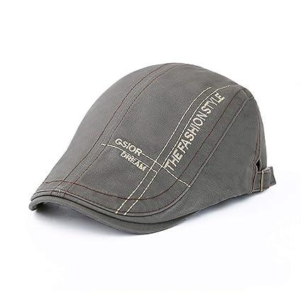 8874e8d5bb295e Amazon.com : Egmy Hat🍀Mens Women Beret Hat Peaked Cap Painter Hat Solid  Color Old Retro Golf Cap Sunscreen Double Line Vintage Cap Casual Style  (Gray) ...