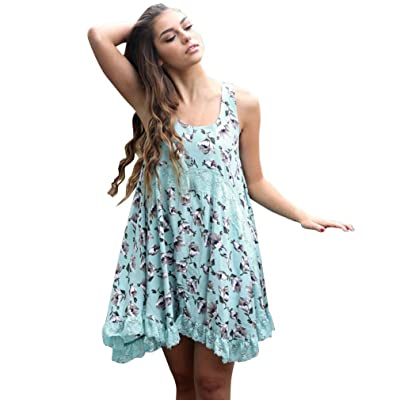 Anshinto Women Boho Chiffon Lace Floral Beach Maxi Cocktail Party Mini Dress
