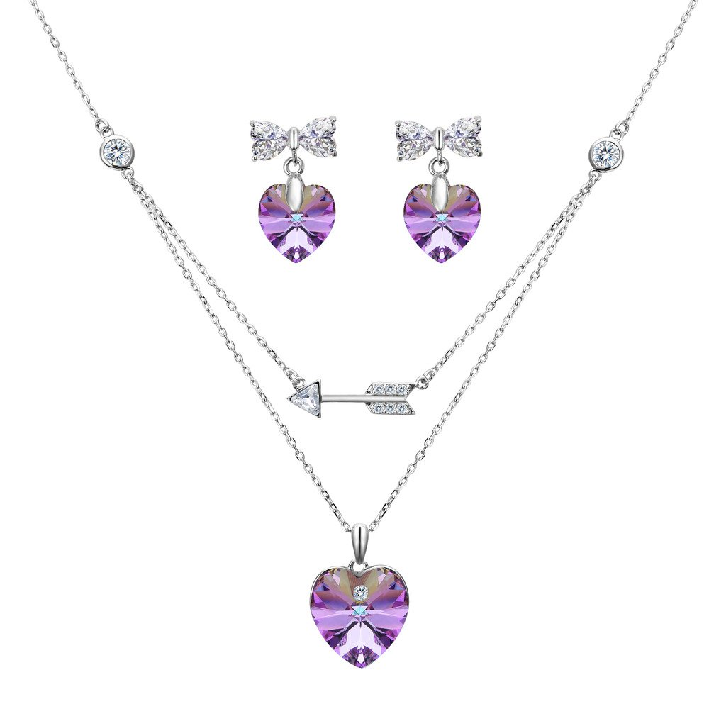 EleQueen 925 Sterling Silver Cupid's Arrow Love Heart Bowknot Strand Pendant Necklace Earrings Set Vitrail Light Made with Swarovski Crystals