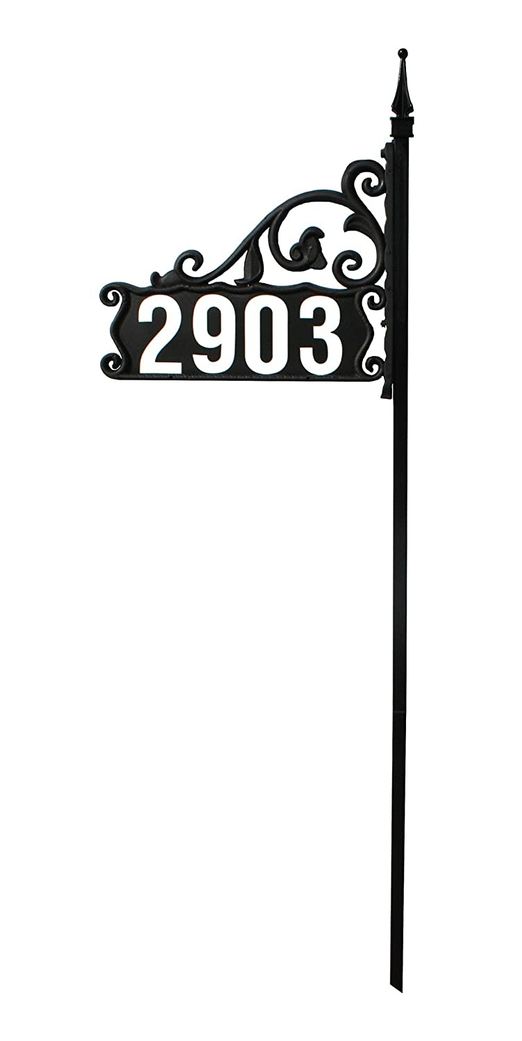 Address America Address Sign [Super Reflective House Numbers Fast, Easy DIY Home Sign [Elegant Custom Address Plaque] Double Sided, Heavy Duty Front Yard Sign [911 High Visibility 24/7] Lawn Sign