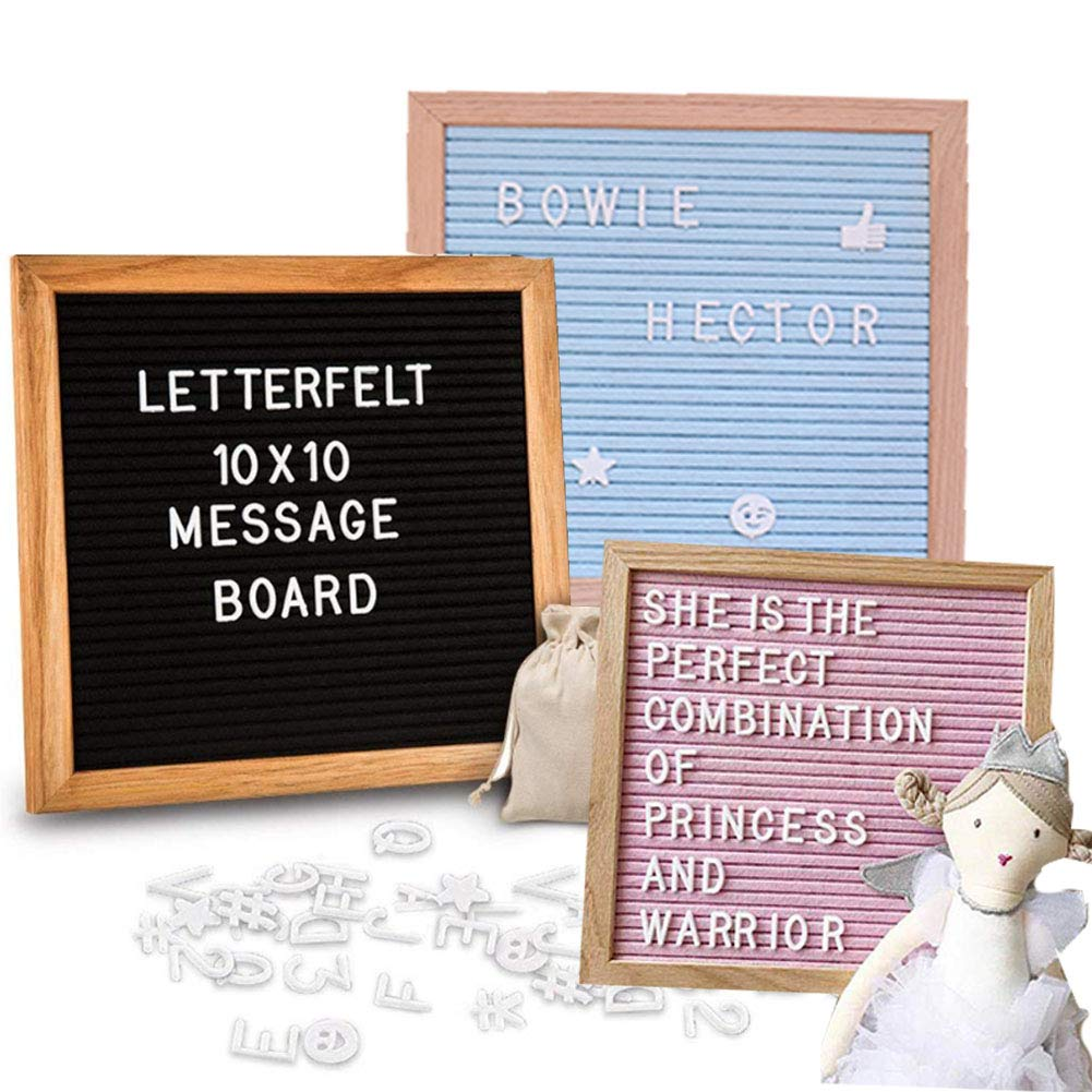 Felt Letter Board Changeable Plastic Letters Message Board Oak Frame 288 Letters Number and Symbols Changeable for Home Office Decoration Puzzle 9.8''x9.8'' (Black)