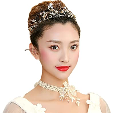 Gold Queen Tiara Bridal Headband Formal Party Wedding Crown Head Pieces   Amazon.ca  Jewelry c3e9283540e