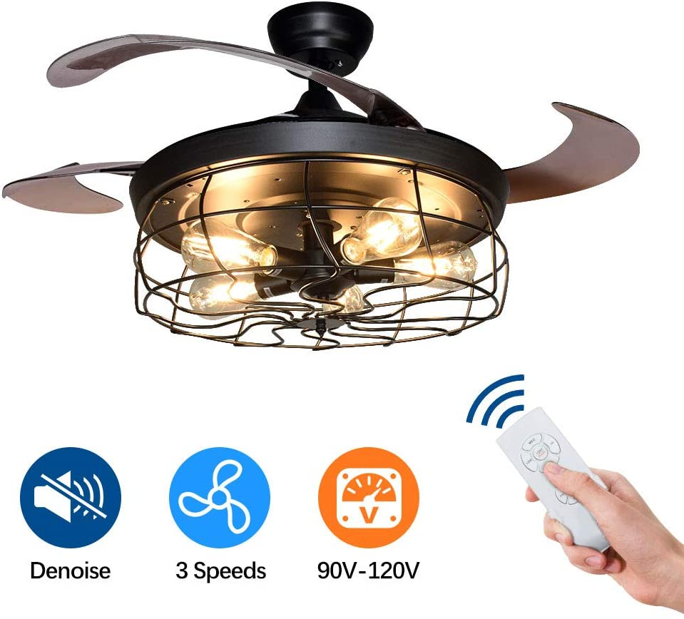 Vintage Ceiling Fan with Lights-DLLT 42 Inch Industrial Chandelier Fan with Remote, Retractable 4 Blades Light Fixture for Kitchen Dining Room Bedroom Living Room, 5 Edison Bulbs, Not Included, Black