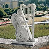 Design Toscano NG29970 Music from Heaven Angel Playing Harp Garden Windchimes Statue, Medium, Two Tone Stone Review