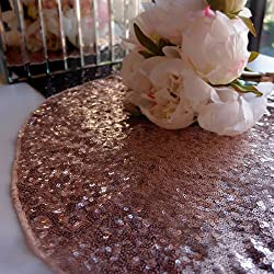 "Quasimoon PaperLanternStore.com 16"" Copper Sequin Round Table Placemat"