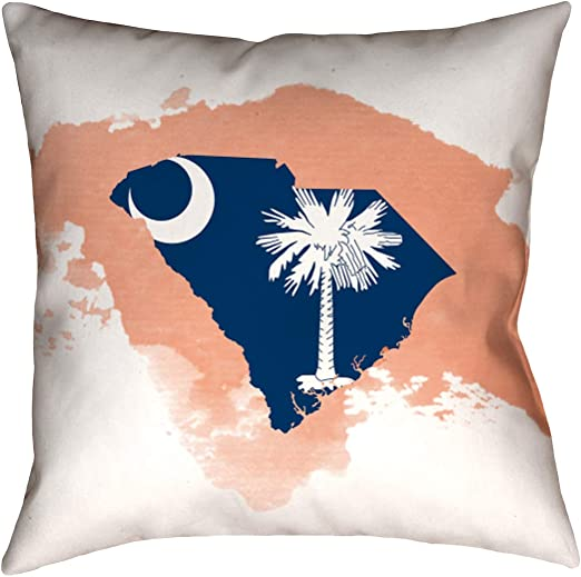 ArtVerse Katelyn Smith 14 x 14 Spun Polyester Double Sided Print with Concealed Zipper /& Insert South Carolina Watercolor Pillow