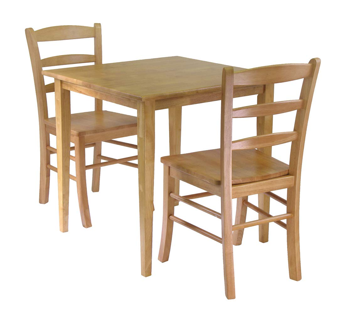 Wood & Style Premium Décor 3pc Dining Set, Square Table with 2 Chairs