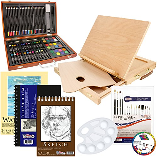 US Art Supply 82 Piece Deluxe Art Creativity Set in Wooden Case, Wood Desk Easel and BONUS 20 additional pieces - Deluxe Art Set