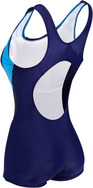 CROSS1946 Damen Figurformend Color-Block Sport Bademode Badeanzug Blau-2