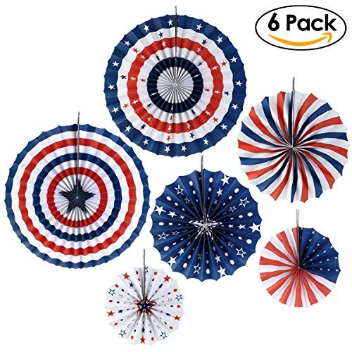 PBPBOX 4th of July Decorations Paper Fan for