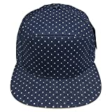 6 Panel Polka Dot Print Pattern Unique Cotton Flat Bill Snapback Cap Adjustable Baseball Cap Hat Men's Women's Couple Hat (Denim Blue/White Dot)