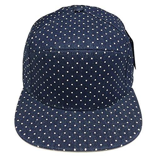 6 Panel Polka Dot Print Pattern Unique Cotton Flat Bill Snapback Cap Adjustable Baseball Cap Hat Men's Women's Couple Hat (Denim Blue/White Dot) by Pitbull