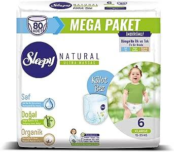 Sleepy Natural Külot Bebek Bezi, 6 Beden, XL, 80 Adet