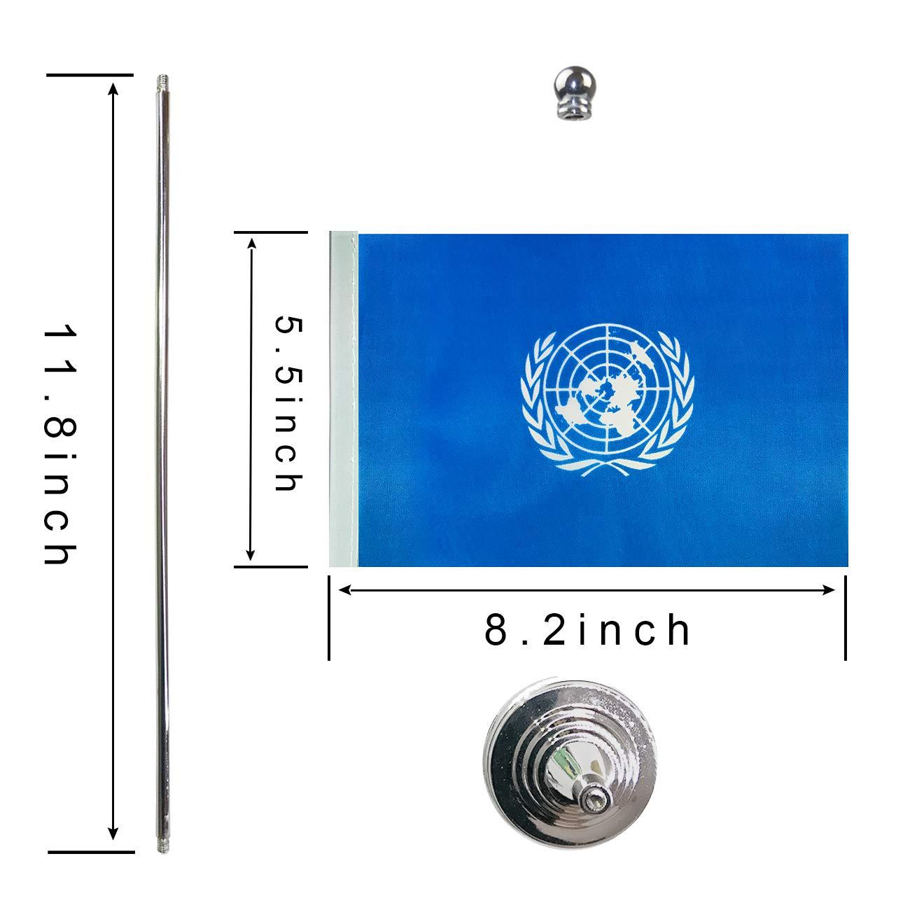 GentleGirl.USA UN International Table Flag Stick Small Mini United Nations Flag Office Table Flag on Stand with Stand Base International Festival,Home Desk Decoration