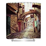 Pixels Shower Curtain (74'' x 71'') ''The Road To The Cross Jerusalem''