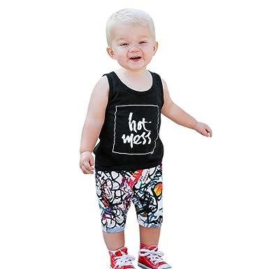 c62889b581c Goodlock Newborn Infant Fashion Clothes Set Baby Boy Summer Letter Tops  Vest+Print Pants Shorts