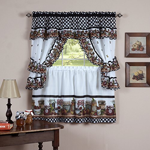 Sweet Home Collection Ruffled Valance 4 Piece Kitchen Curtain Set, 36