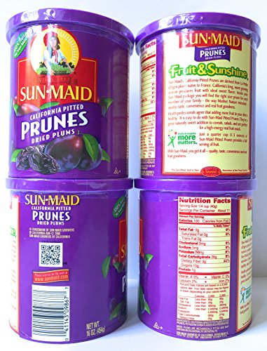 Sun Maid Pitted Prunes - 4 16 oz Canisters of Delicious Dried Prunes - GREAT VALUE by SunMaid (Image #2)