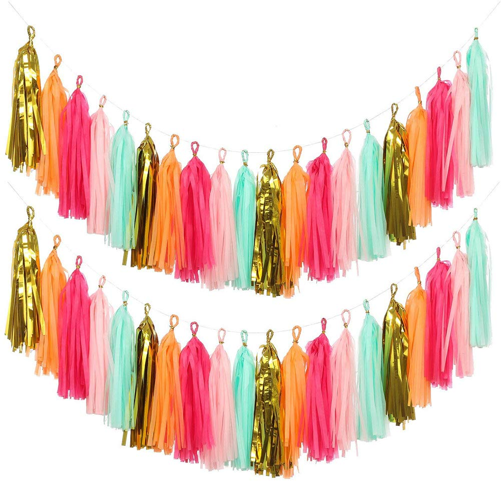 Packaged With Instructions Tissue Paper Tassels for Wedding KOKER Tassel Garland Baby Shower 30 pcs DIY Kits Event /& Party Supplies