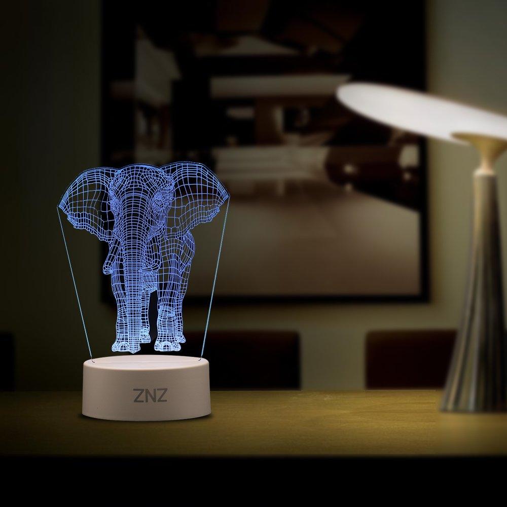 Lámpara LED de luz nocturna 3D - ZNZ 16 colore con luz nocturna regulable con interruptor táctil para niños, lámpara de escritorio Illusions de luce para ...