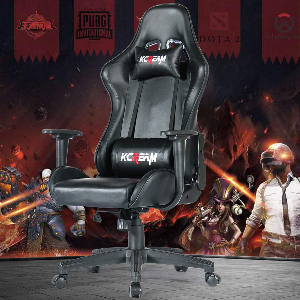 Black KCREAM Gaming Chairs High Back Computer Chair of Professional Racing Style Comfortable Gamer Chair with Footrest and Headrest and Lumbar Pillows