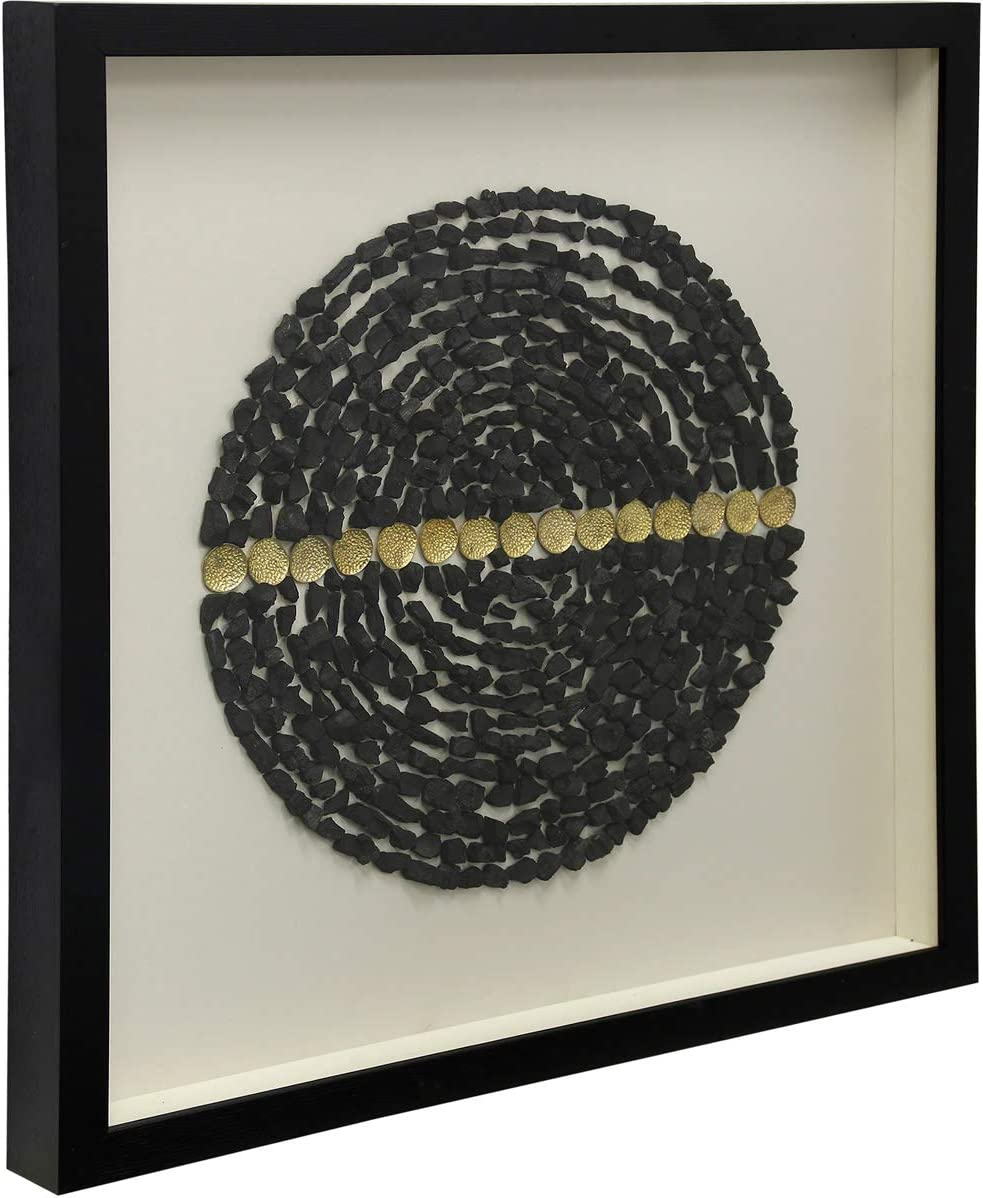 """Stylecraft Home Collection Concentric Circles Stone 23 1/2"""" Square Shadow Box Wall Art"""