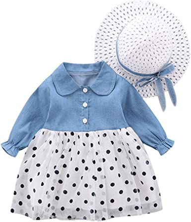 Toddler Baby Kids Dress Girls Sleeveless Ruffle Floral Denim Splice Tulle Dress