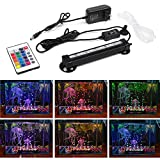 Smiful LED Aquarium Light with Air Pump Bubble, Submersible Underwater 16 Color and 4 Mode Crystal Glass Fish Tank Light Controled by Remote or Power Button (7''-colorful)