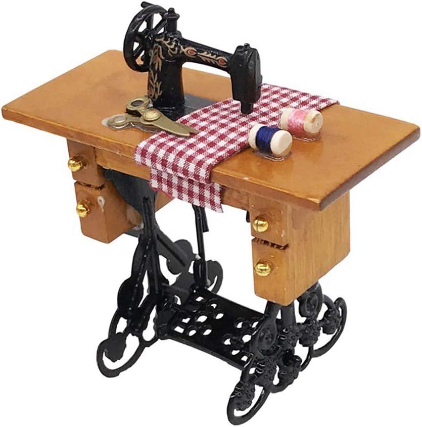 Lorsoul Uno y Doce de muñecas en Miniatura de la máquina de Coser con Hilo de Tela Tijeras Scaled Dollhouse Accesorios