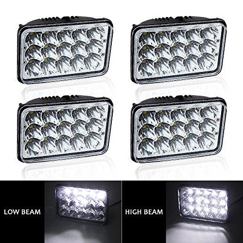 Chevy Suburban Performance Parts (TURBOSII Sealed Beam 4X6 Projector Rectagular Headlight Assemblies Hi/Lo Replace Hid Xenon Halogen Bulb Headlamps Peterbilt 379 Kenworth T-600 W900B Chevy C10 K10 S10 John Deere 4Wd F150 F350 4PCS)