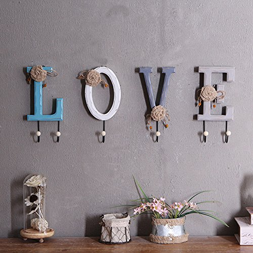 Rustic Wooden Coat Hooks Rack Wall Hanging Key Hook Holder Decorative Hat Handbag Scarf Towel Hooks for Home Office Dorm Nursery Entryway Gift Set of 4