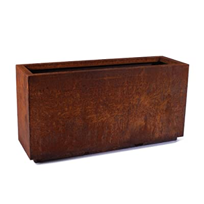 "Veradek Metallic Series Corten Steel Long Box Planter (16"" H x 10"" W x 32"" L, Rust) : Garden & Outdoor"