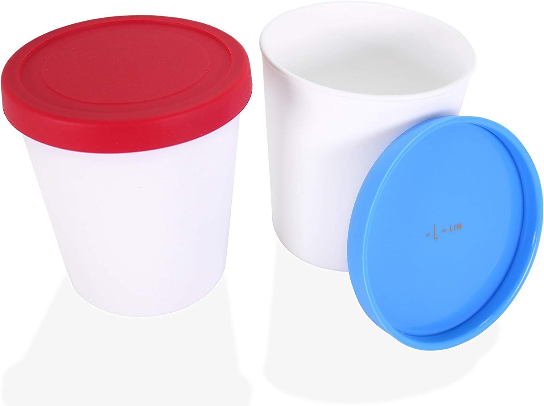 Set de 4 recipientes para conservar helado 400 ml hecho de pl/ástico de sin BPA con tapas de silicona recipientes h/érmeticos apto para lavavajillas