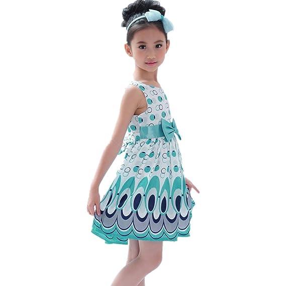Winwintom Nuevos Niños Correa arco Burbujas vestido sin mangas Fiesta ropa Peacock (S, Azul