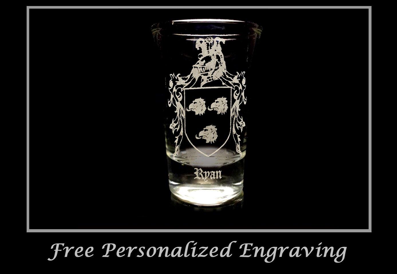 Irish Glass Free Personalized Engraving Ryan Irish Family Coat of Arms Shot Glass 2oz Set of 6 Celtic Decor